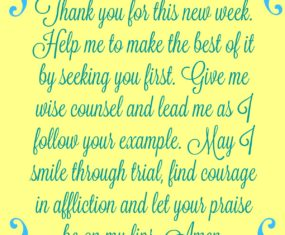 A Prayer As You Begin a New Week